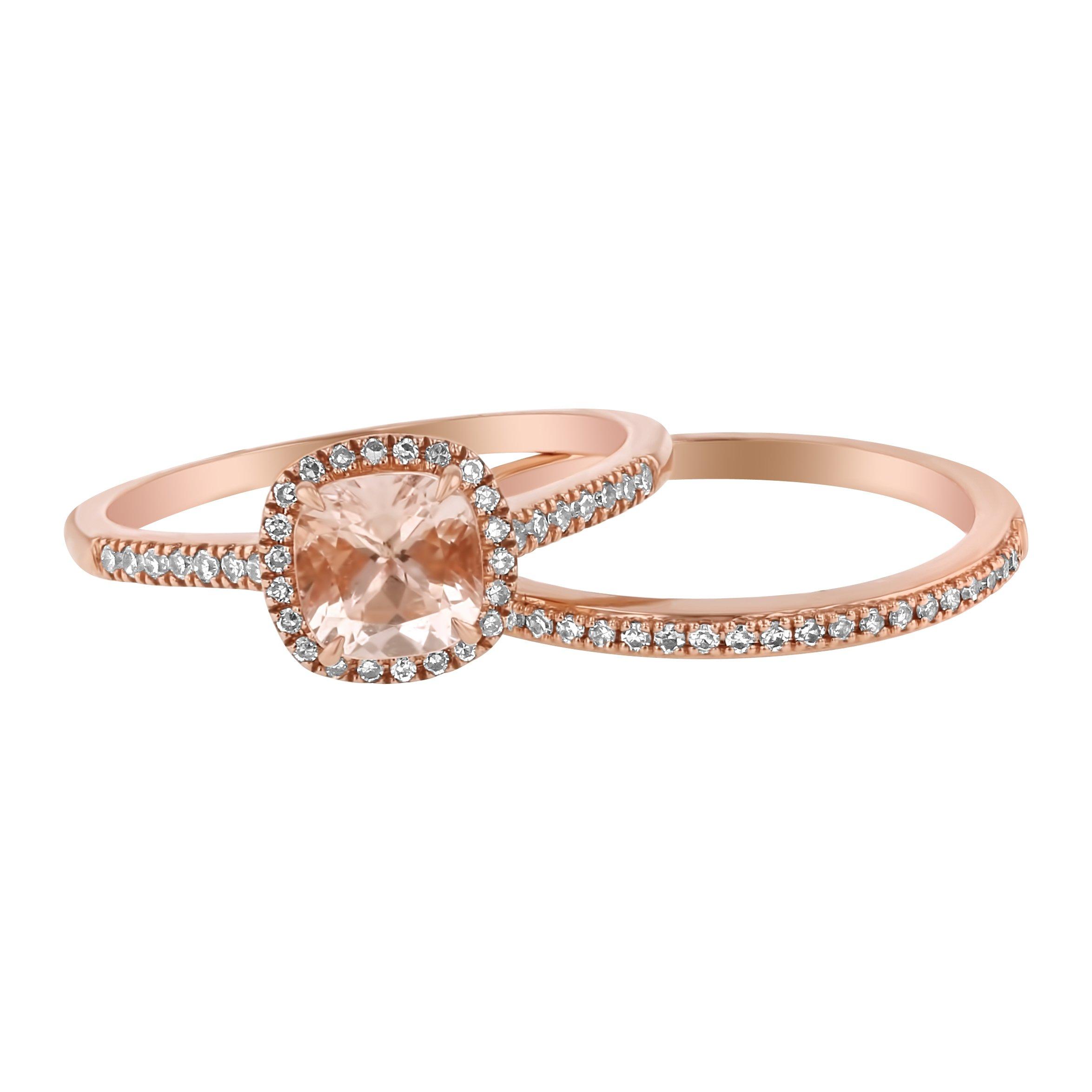 14k Rose Gold Cushion Morganite and Diamond Halo Wedding Set (1/4 cttw, H-I Color, I1 Clarity) Size 5