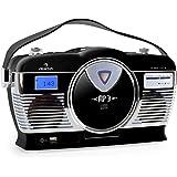 auna MCP-69 Poste radio vintage (lecteur CD et port USB pour MP3, poignée, utilisation sur piles possible, design rétro) - noir