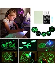 Draw with Light Fun and Developing Toy, Portable Fluorescent Luminous Drawing Board Magic Draw with Letter Card - Kids Large Size Light Up Board for Sketch/Create/Doodle/Art/Lettering Aids