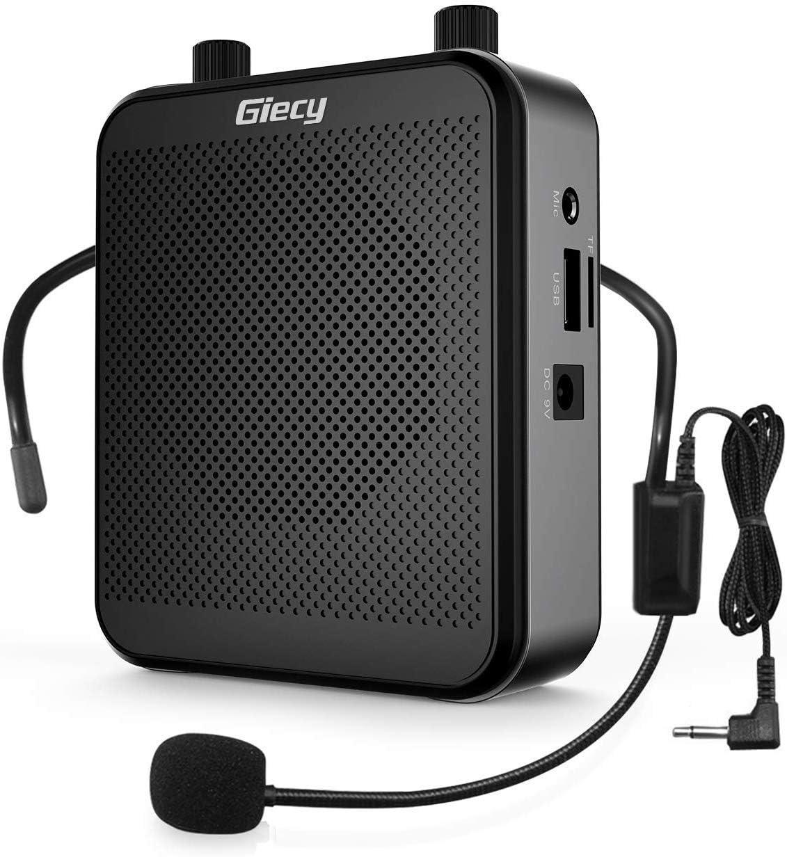 Giecy Amplificador de voz portátil con micrófono,30W batería recargable 2800mah, sistema de megafonía, amplificador voz ligero para profesores, guías turísticos, entrenadores deportivos, presentadore