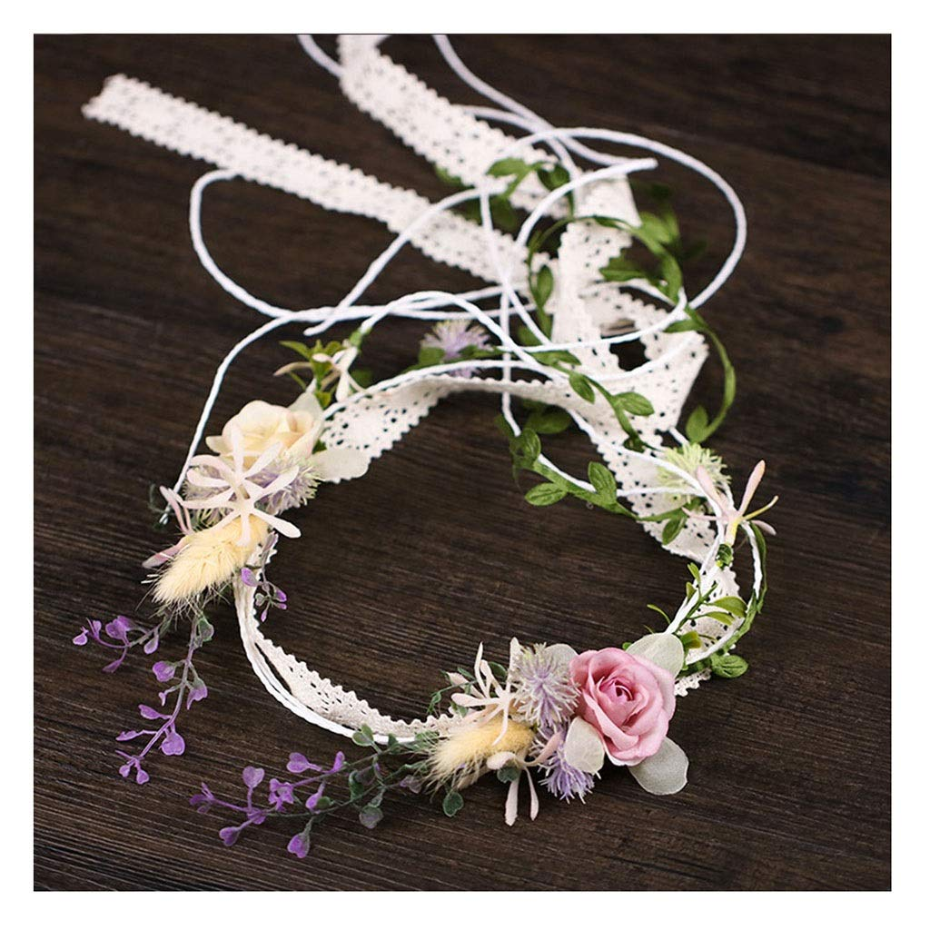 Wreath Flower Hair Accessories Bride Wedding Tassel Hair Band Beach Holiday Headwear Bride Shooting Hair Accessories Garland (Size : 45cm)