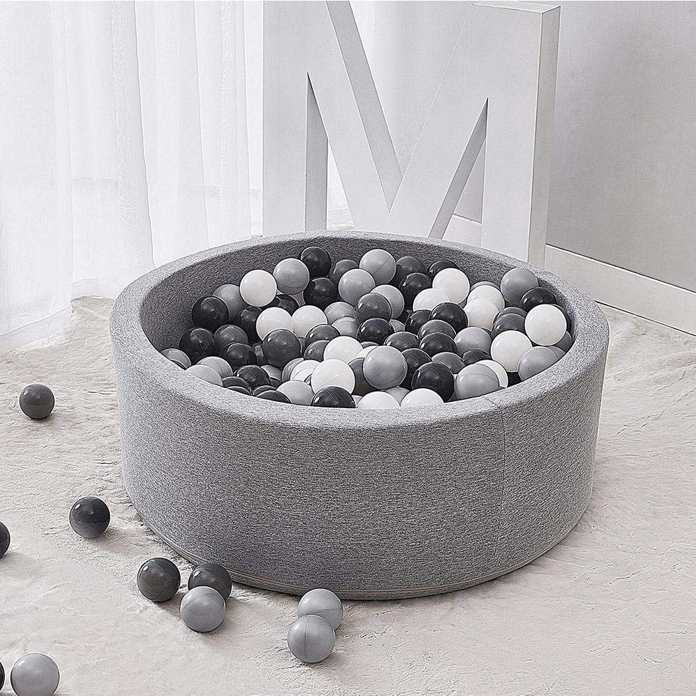 Depruies Kids Play Ball Pool Soft Quality Sponge Ocean Ball Pool Indoor Deluxe Baby Round Ball Pit Ideal Gift Play Toy for Children Toddler Infant Boys Girls(Gray) by Depruies (Image #6)
