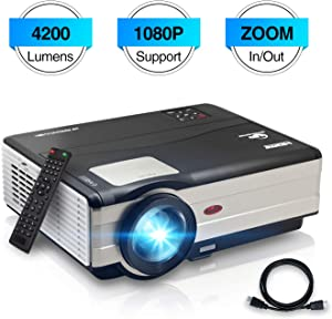 LED Video Projector HD HDMI USB Zoom Digital LCD Home Cinema Ceiling Rear Projector 4200 Lumens Compatible with Phone PS4 TV Stick Mac PC Laptop for 1080P Movie Gaming Indoor Outdoor Entertainment