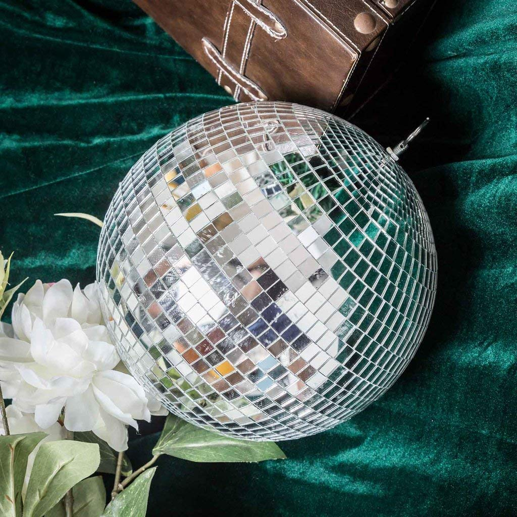 Tableclothsfactory 2 PCS 10'' Groovy Glass Mirror Disco Ball Party Decoration for Wedding Event Birthday Party