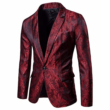 Easytoy Mens Dress Floral Suit Notched Lapel Slim Fit Stylish Blazer Dress Suit One Button Formal