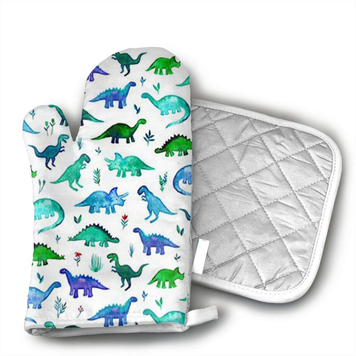 HGUIDHG Dinosaurs Fabric Tiny Dinos in Blue and Green Oven Mitts+Insulated Square Mat,Heat Resistant Kitchen Gloves Soft Insulated Deep Pockets, Non-Slip Handles