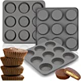 Palksky (3PCS) 9 Cup Bite Size Chocolate Almond Peanut Butter Cup Mold/Fat Bombs Snack Baking Pan/Mini Silicone Cookie Candy