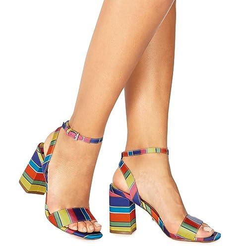b0181404b Debenhams Faith Womens Multi-Coloured Satin  Dance  High Block Heel Ankle  Strap Sandals