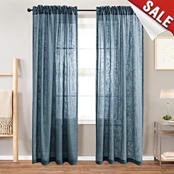 Fantastic Sheer Curtain Panels For Bedroom Curtain Rod Pocket Linen Like Textured Window Curtains 84 Inches Long 2 Panels Navy Blue Best Image Libraries Thycampuscom