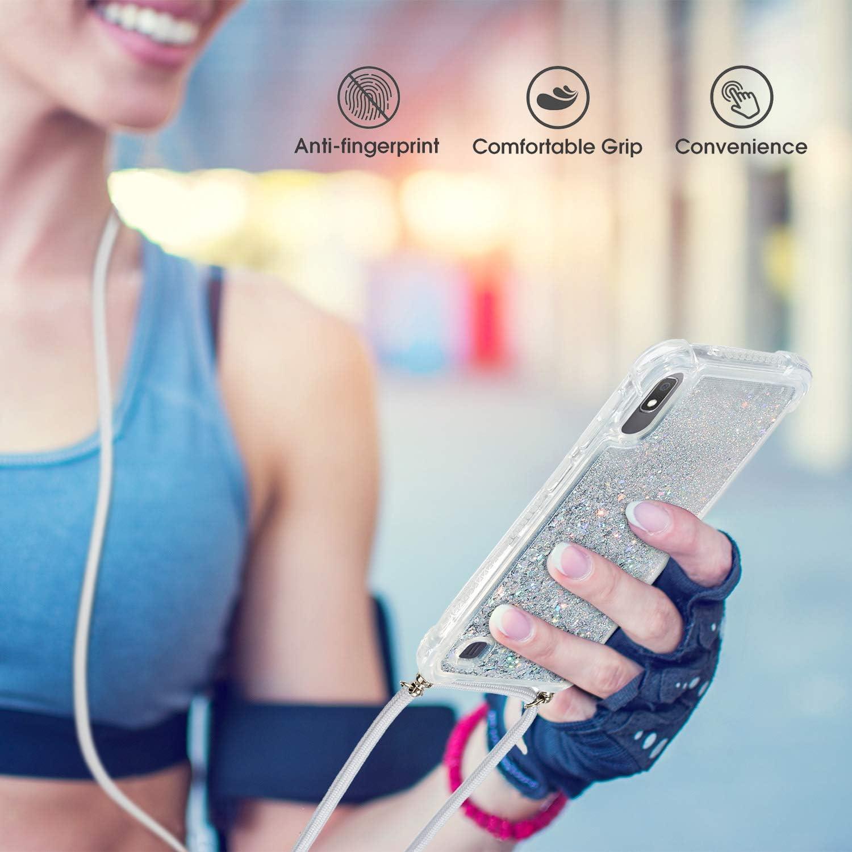 Handyh/ülle Glitzer Fl/üssig Silikon Weich Case H/ülle mit Band Kordel Sto/ßfest Transparent Cover mit Umh/ängeband f/ür Samsung Galaxy A10,Silber Vepbk Handykette H/ülle f/ür Samsung Galaxy A10 Case