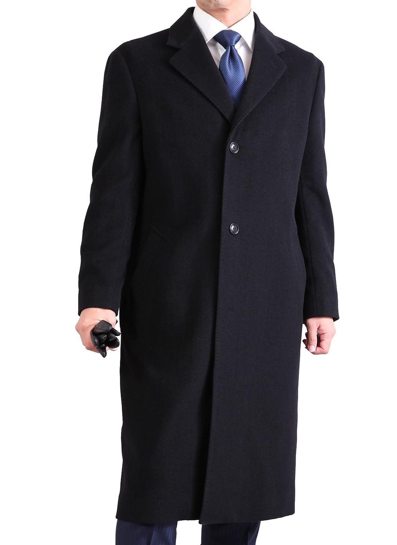 ビジネス & フォーマル メンズ シングル チェスター ロングコート 【 カシミヤ ブレンド 】 B0775TW6F3  ブラック L
