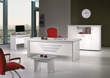 Casa Mare Modern New Star 5 Piece Office Furniture Set Office Desk Home Office Furniture White Office Furniture White And Metalic Grey 79