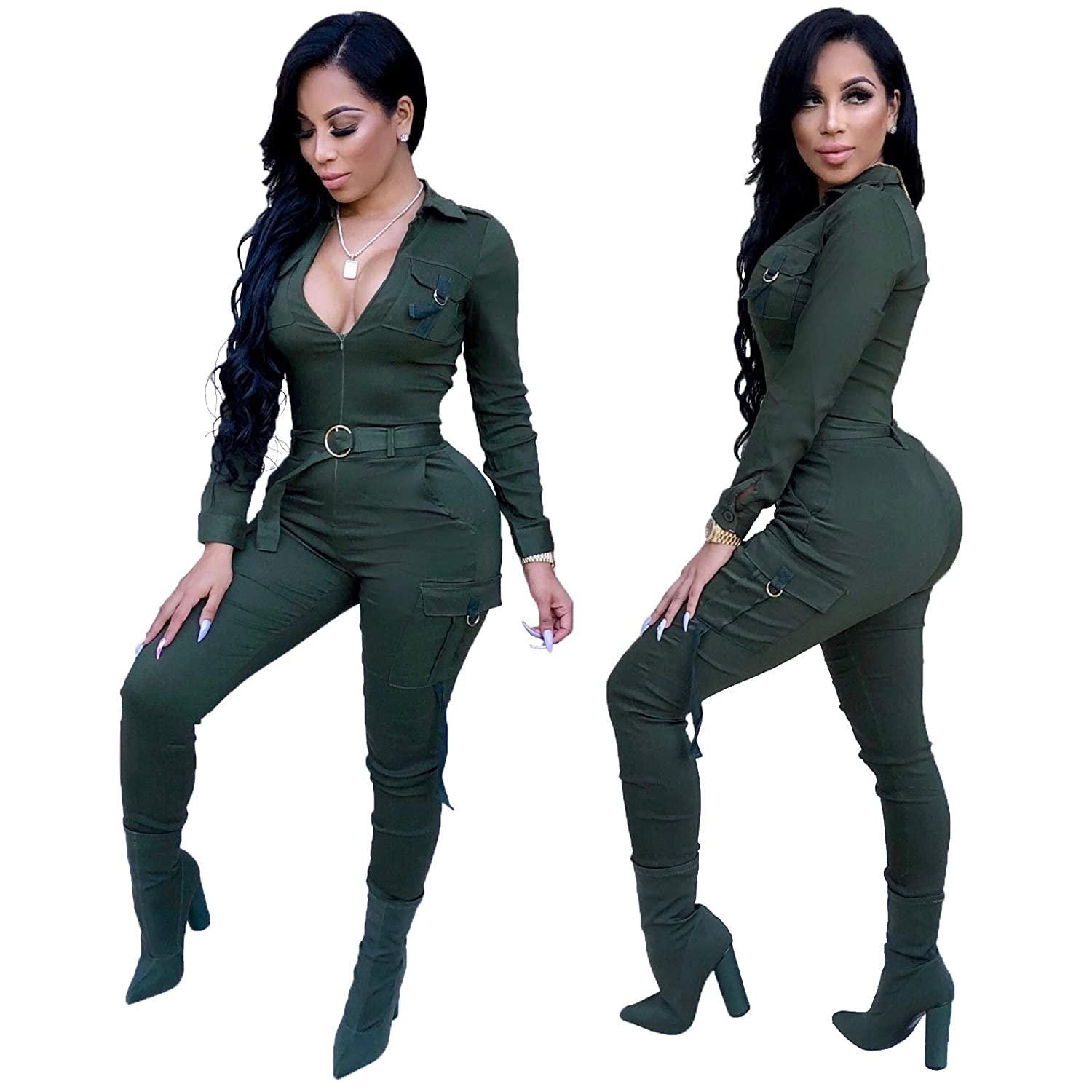 9ef9835ebbb Amazon.com  Long Sleeve Bodycon Jumpsuits for Women Party Night Sexy  Clubwear Solid Long Pants Rompers Plus Size  Clothing