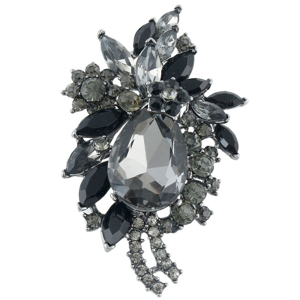 EVER FAITH Women's Rhinestone Crystal Vintage Style Flower Teardrop Brooch Pendant Black Black-Tone