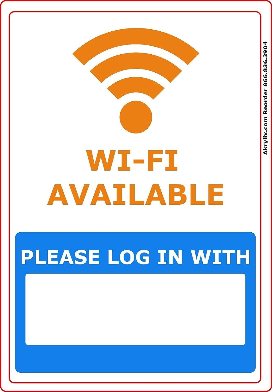 In Vinyl PVC Sign Acrylic Mega Store Wi-Fi Available Please Log