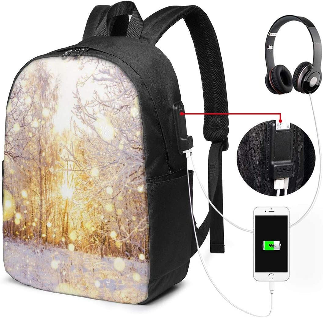 Winter Sunset Laptop Backpack 17 Inch Business Travel Backpacks for Men Women Extra Large College School Bookbags with USB Charging Port Black Mens and Womens Travel Daypack