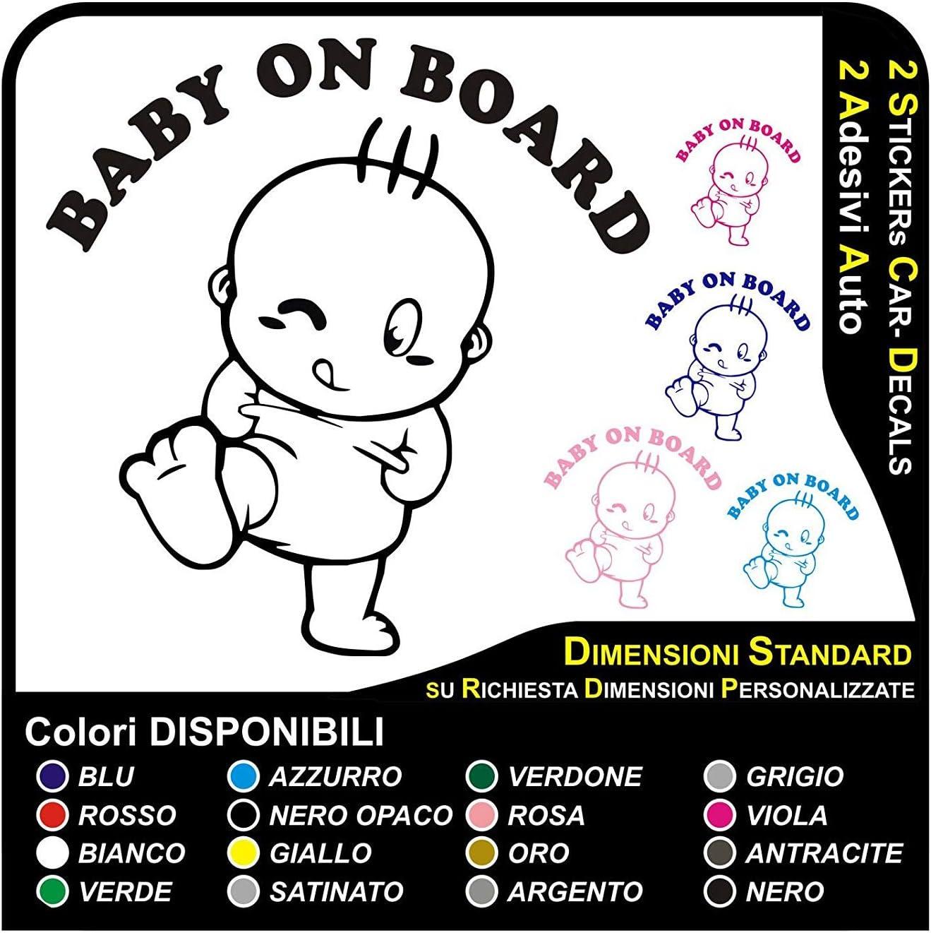 Baby on Board 20 x 12 cm adesivo bambino a bordo auto nascita tour in 18 colori