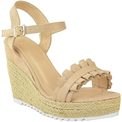 17b48a9172f0 Fashion Thirsty Heelberry® Womens Ladies Wedge High Heels Sandals Platforms  Frilly Summer Party Shoes Size  Amazon.co.uk  Shoes   Bags