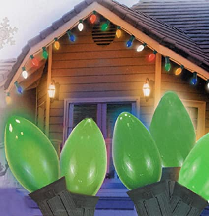 northlight 25 ceramic style opaque green led retro style c7 christmas lights with green wire