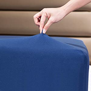 """Fitted Sheet- COSMOPLUS King Fitted Sheet Only(No Flat Sheet or Pillow Shams),4 Way Stretch Micro-Knit,Snug Fit,Wrinkle Free,for Standard Mattress and Air Bed Mattress from 8"""" Up to 14"""",Navy"""