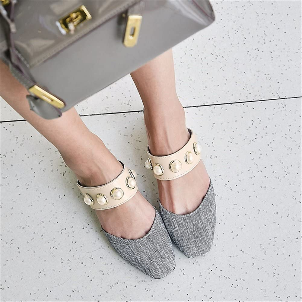 Womenss Shoes Half Slippers Flat Head with Womens Sandals and Slippers Europe and America Rivet Sandals