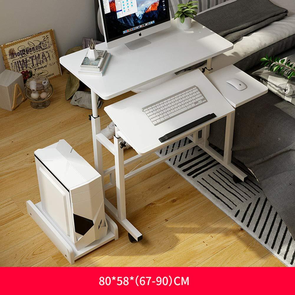 ノートパソコンのテーブルは持ち上がることができますベッドサイドテーブルモバイルデスクトップテーブル滑り止め&ロック可能なキャスター付きプーリー付き多機能学習テーブルストッパー学生学生寮ホームオフィシャル,A  A B07QSHSH18
