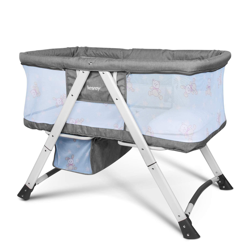 Es ist mit einer Matratze Besrey Wiegen Reisebett und Stubenwagen Kissen und Moskitonetzen ausgestattet. Blau
