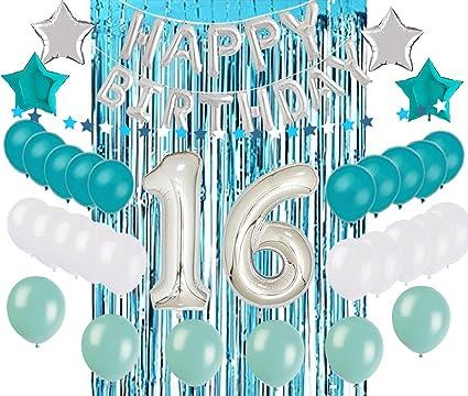 Amazon.com: 16 decoraciones de cumpleaños para fiesta de 16 ...