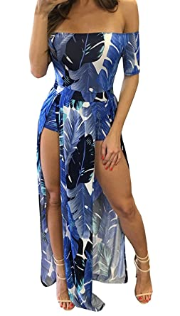 b026766f2ce Wancy Women s Off Shoulder Floral Print Split Party Beach Maxi Romper Dress  Blue Small