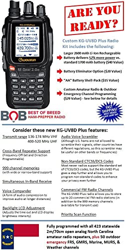 Wouxun KG-UV8D Plus – New Model Custom North Carolina Two-Way Radio Enhanced Kit w 2600 mAh Battery, AA Shell-Pack, Battery Eliminator, and NC 2m VHF, 70cm UHF Statewide Programming