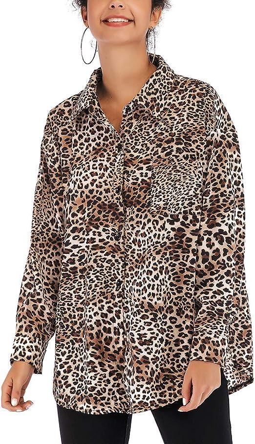 FENICAL Camisas de Mujer Camisa con Estampado de Leopardo de Gasa Blusa de Solapa de un Solo Pecho Camisa de Manga Larga Tamaño L (Caqui): Amazon.es: Hogar