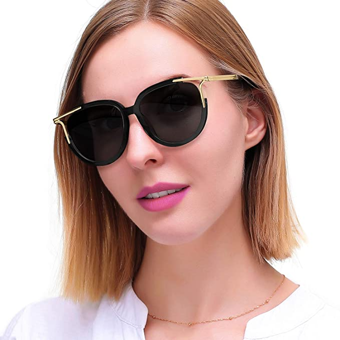 5499de0c6a LVIOE Women s Cateye Sunglasses Cut-out Frame (Gold Black Cut-Out Frame