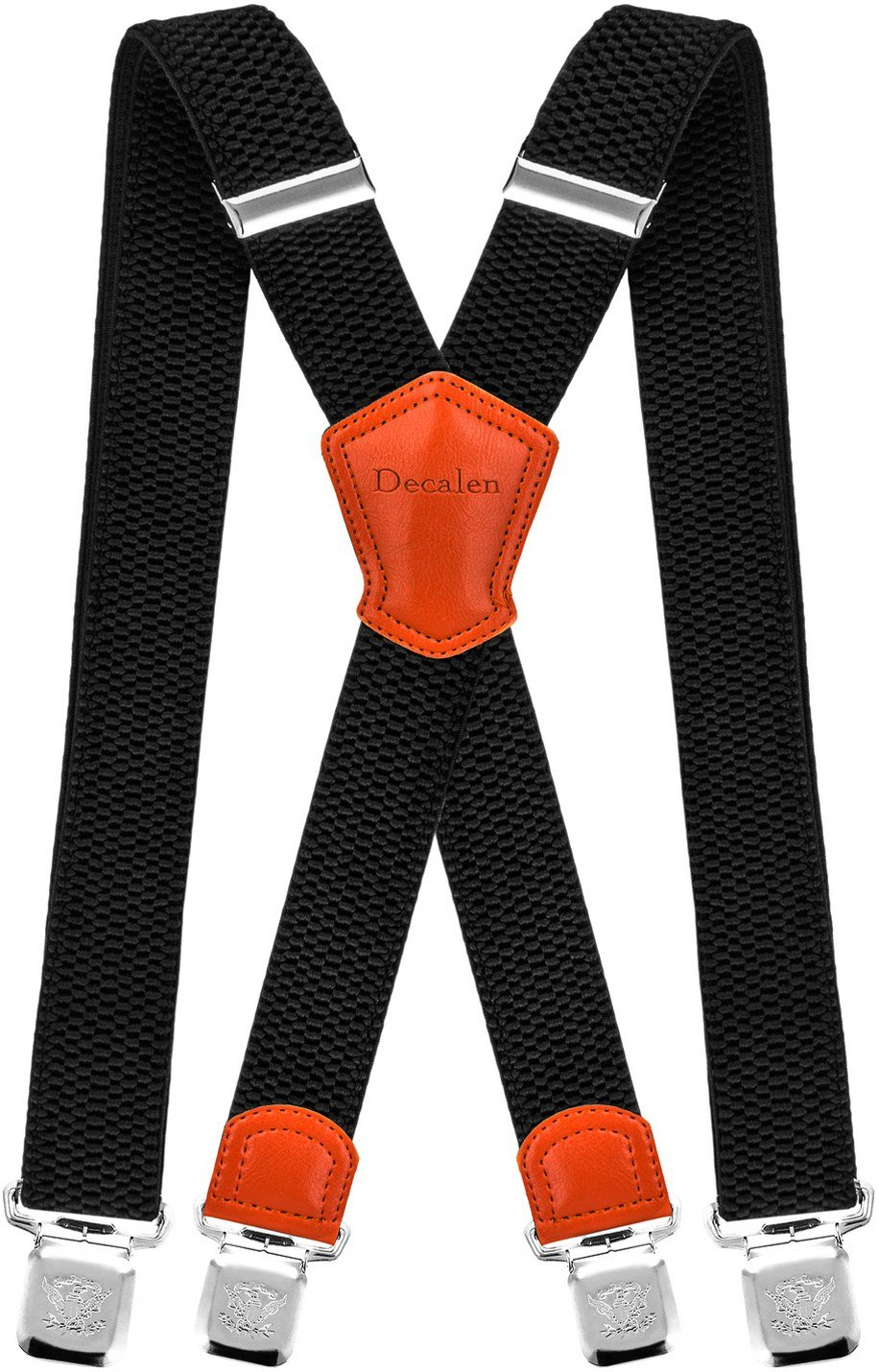 Decalen Mens Suspenders Very Strong Clips Heavy Duty Braces Big and Tall X Style (Black 1)