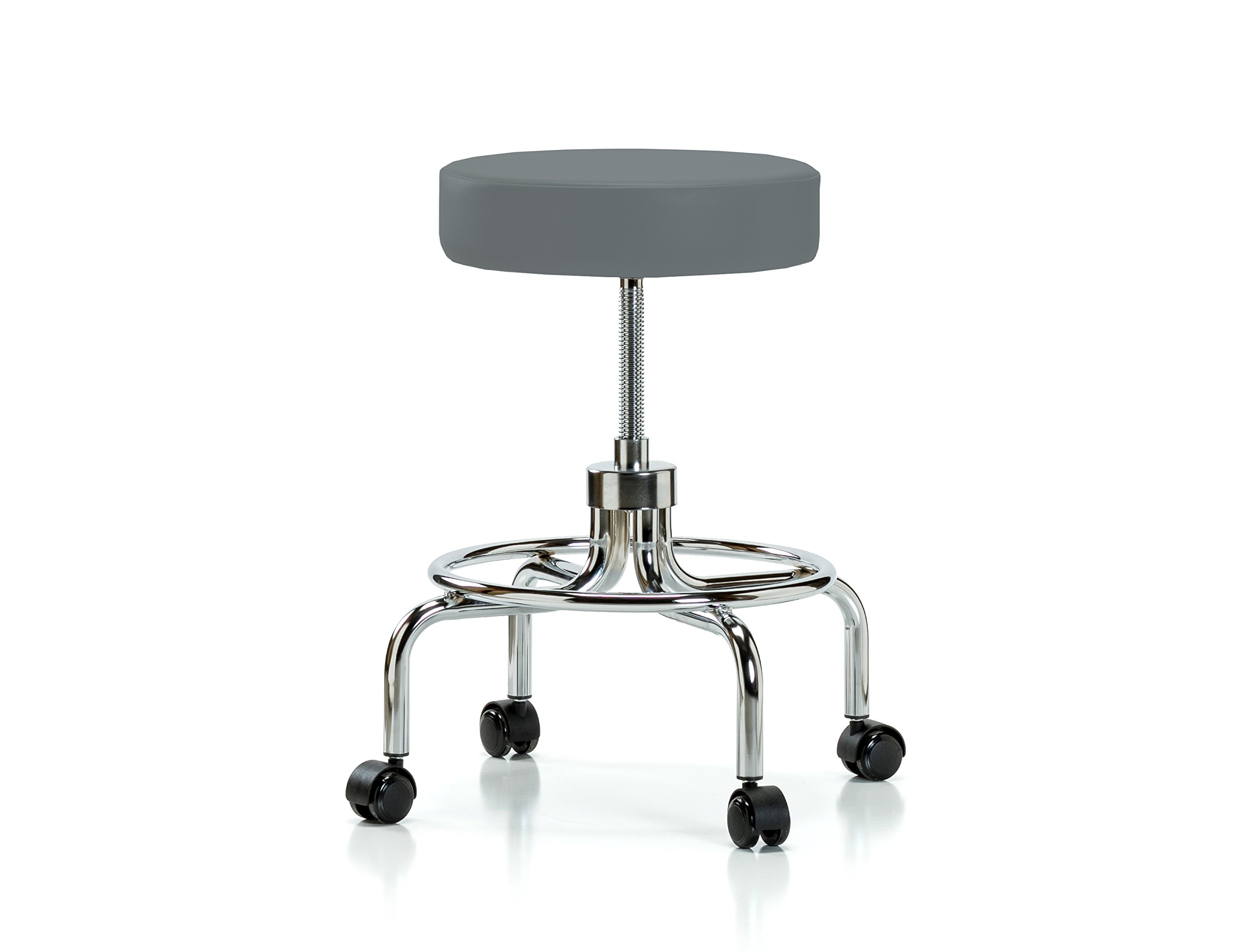 Perch Retro Rolling Exam Stool with Wheels for Hardwood or Tile Floors, Cinder Fabric
