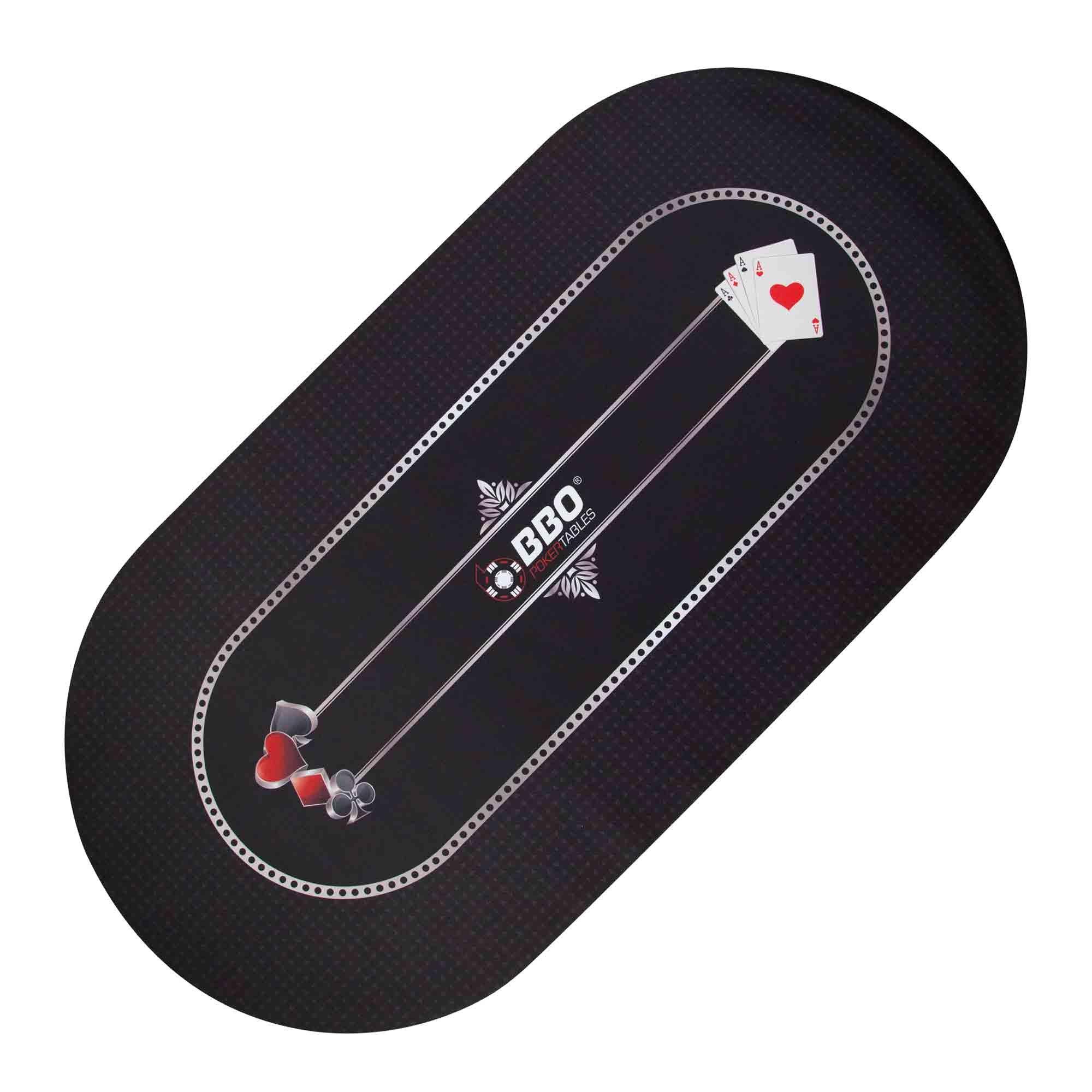 BBO Poker Portable Poker & Game Mat for 8 Players, black