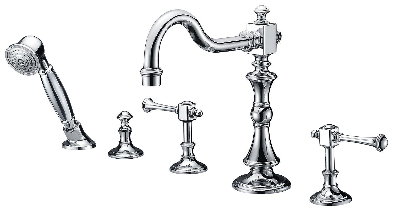 Deck Mount Bathtub Faucet.3 Handle Deck Mounted Bathtub Faucet Polished Chrome Kitt Series Fr Az376 Anzzi