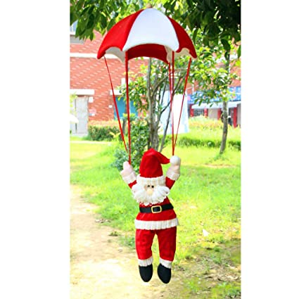 Xmas Ornament Misaky Christmas Tree Hanging Santa Claus Snowman In Parachute Decoration