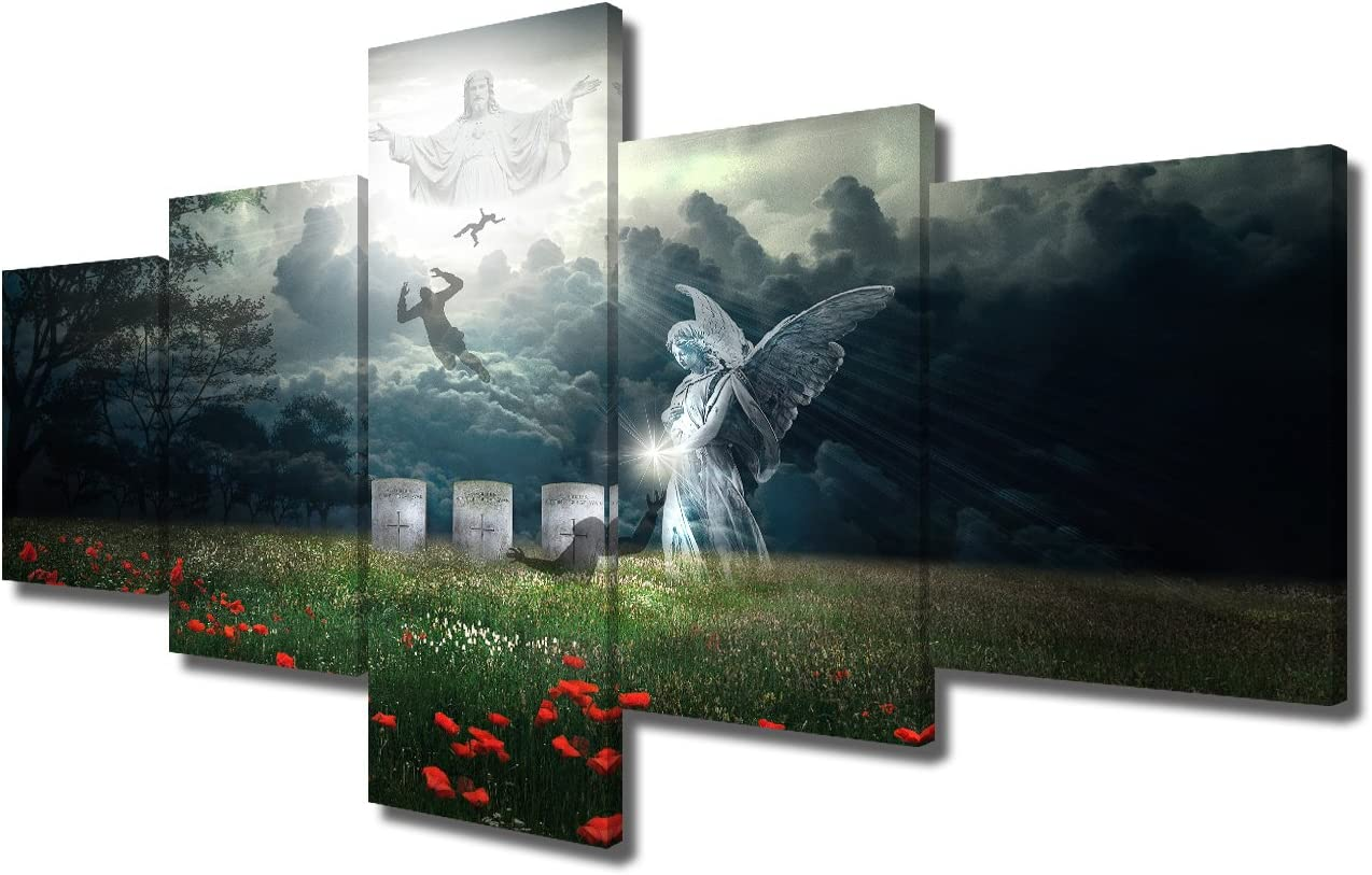 Angel Painting Jesus Christ Canvas Wall Art Home Decor for Living Room Cultural Religion 5 PCS Posters and Prints Pictures Artwork Wooden Framed Gallery-wrapped Stretched Ready to Hang(50''Wx24''H)