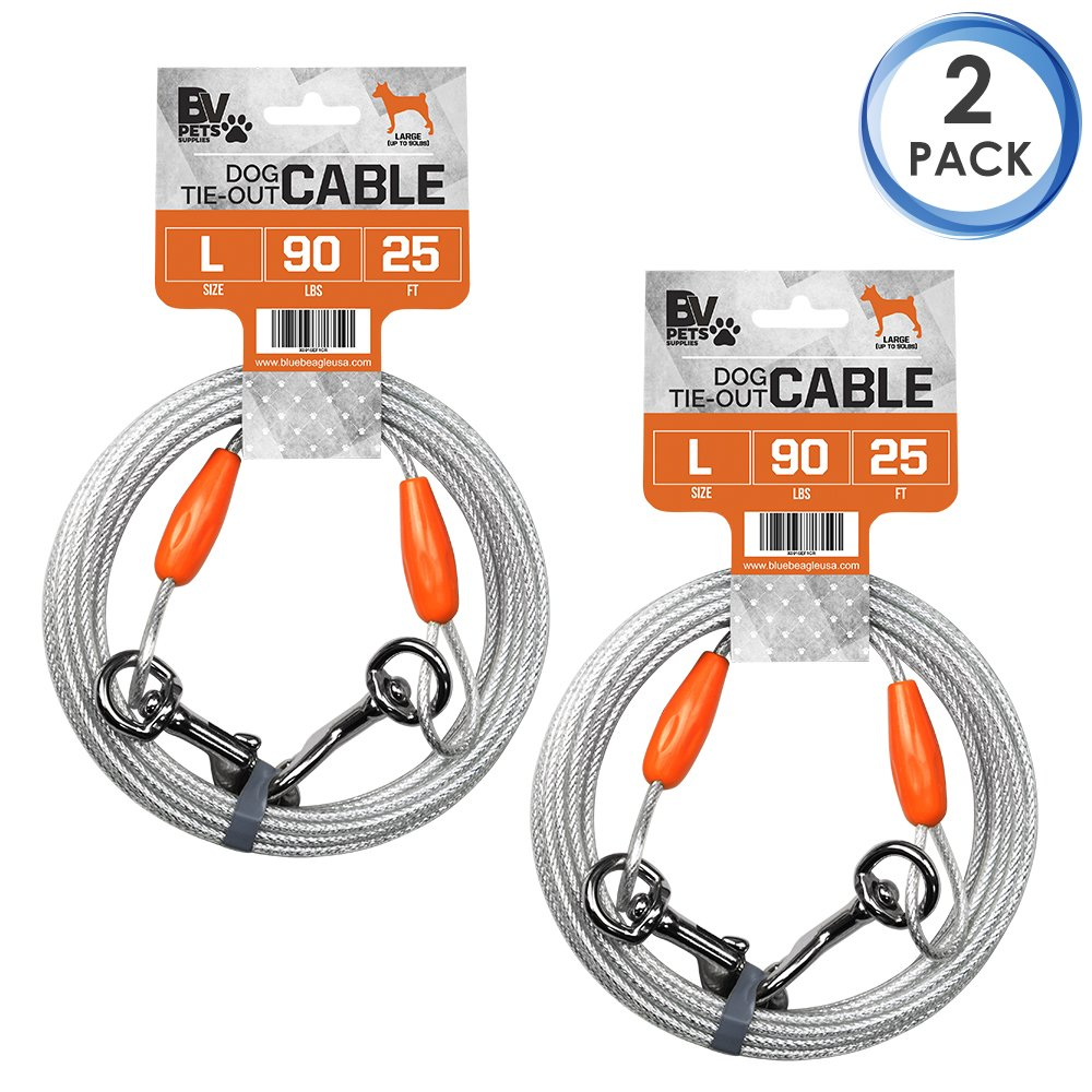 BV Pet Reflective Tie Out Cable for Dog up to 90 pound, 25 Feet (Set of 2)