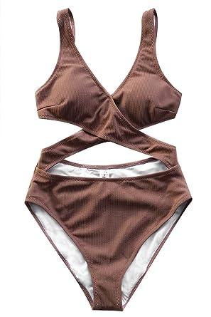 35895cf8a5 CUPSHE Women's Tender Look Cross One-Piece Swimsuit Push Up Beach Swimwear X -Large