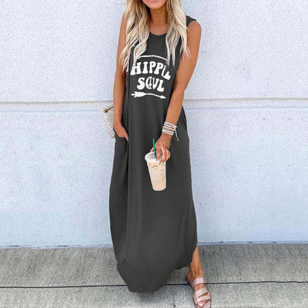 Maxi Dresses for Women Hippie Soul Letters Printed Side Split Pockets Sundress Summer Sleeveless Long Dress Casual Loose T-Shirt Dress