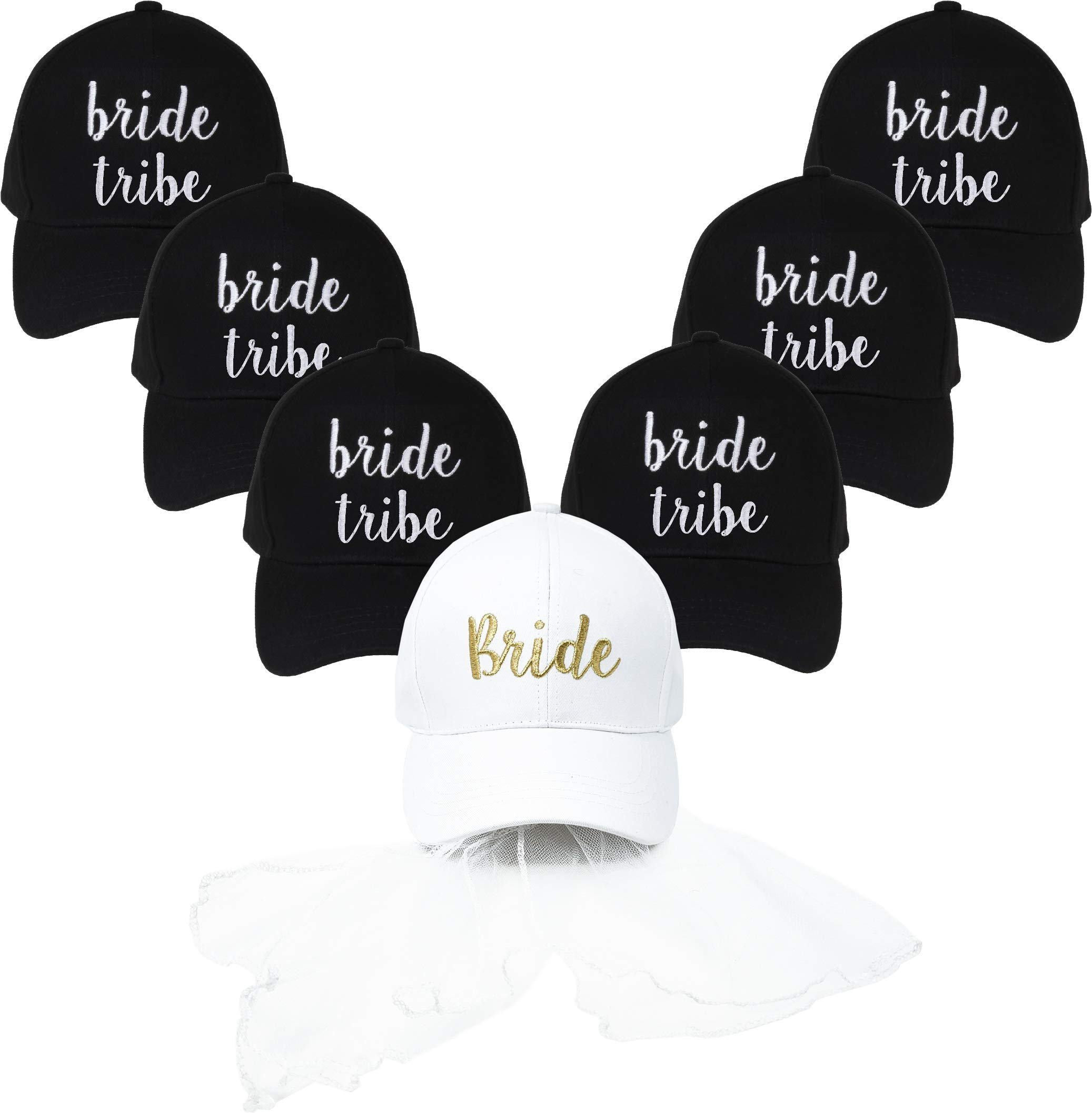 Funky Junque Women's Baseball Bold Cursive Embroidered Sayings Adjustable Hat (1 Bride (White w/Veil) & 6 Bride Tribe (Black))