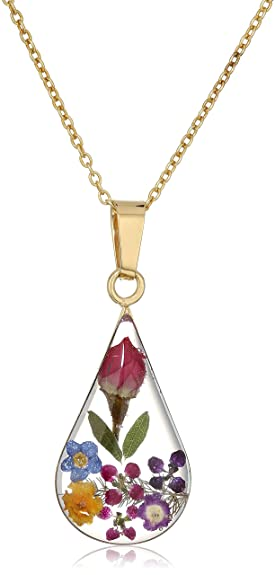 Amazon 14k gold over sterling silver multi pressed flower 14k gold over sterling silver multi pressed flower teardrop pendant necklace 16quot mozeypictures Images