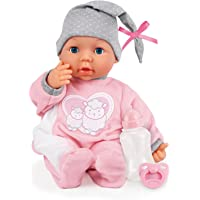 Bayer Design Muñeca 38 cm, Piccolina Interactive, con 26 Sonidos de bebé y Accesorios, Color Rosa,Gris (93829AA)