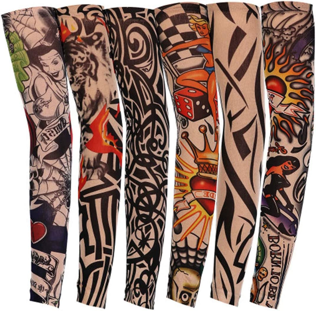 Cycling Tattoo Printed Arm Sleeves Basketball Bike 3D Compression Arms Warmers