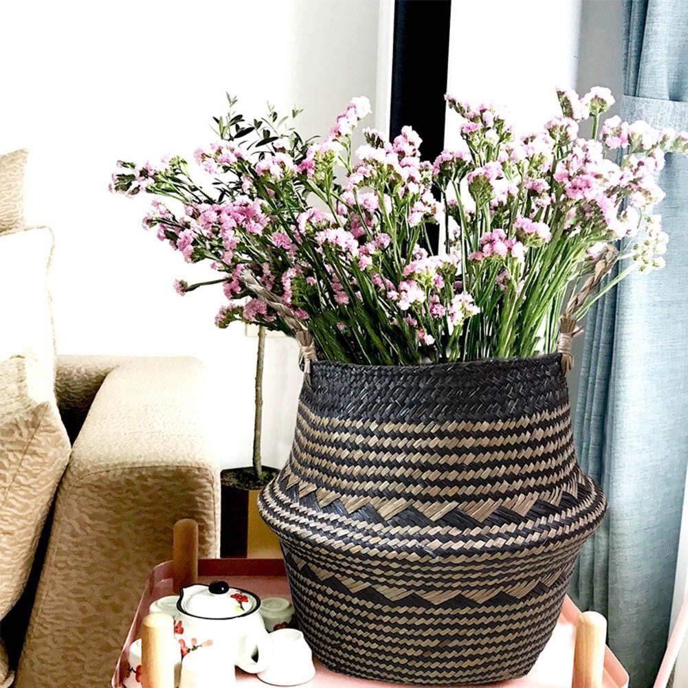 organisateur de panier de ventre naturel de Seagrass nou/é /à la main avec pot de fleurs avec poign/ée pour v/êtements sales//fruits jouets//pots de fleurs Panier de rangement tiss/é /à la main iB/àste