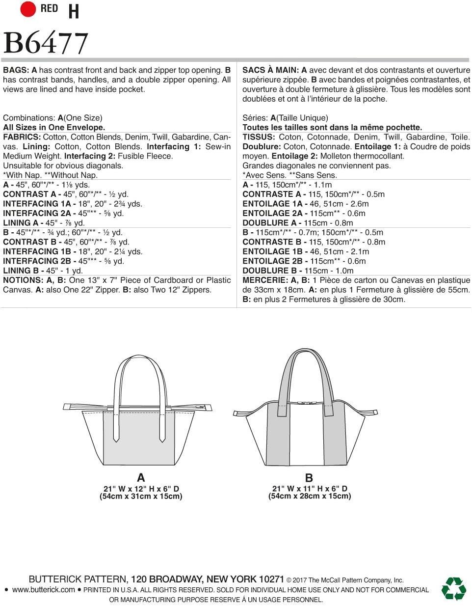 Butterick Patterns 6477/Sacs dun Patron de Couture Multicolore