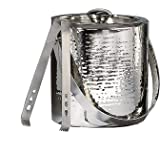 Elegance Hammered 6-Inch Stainless Steel Ice Bucket With Tongs