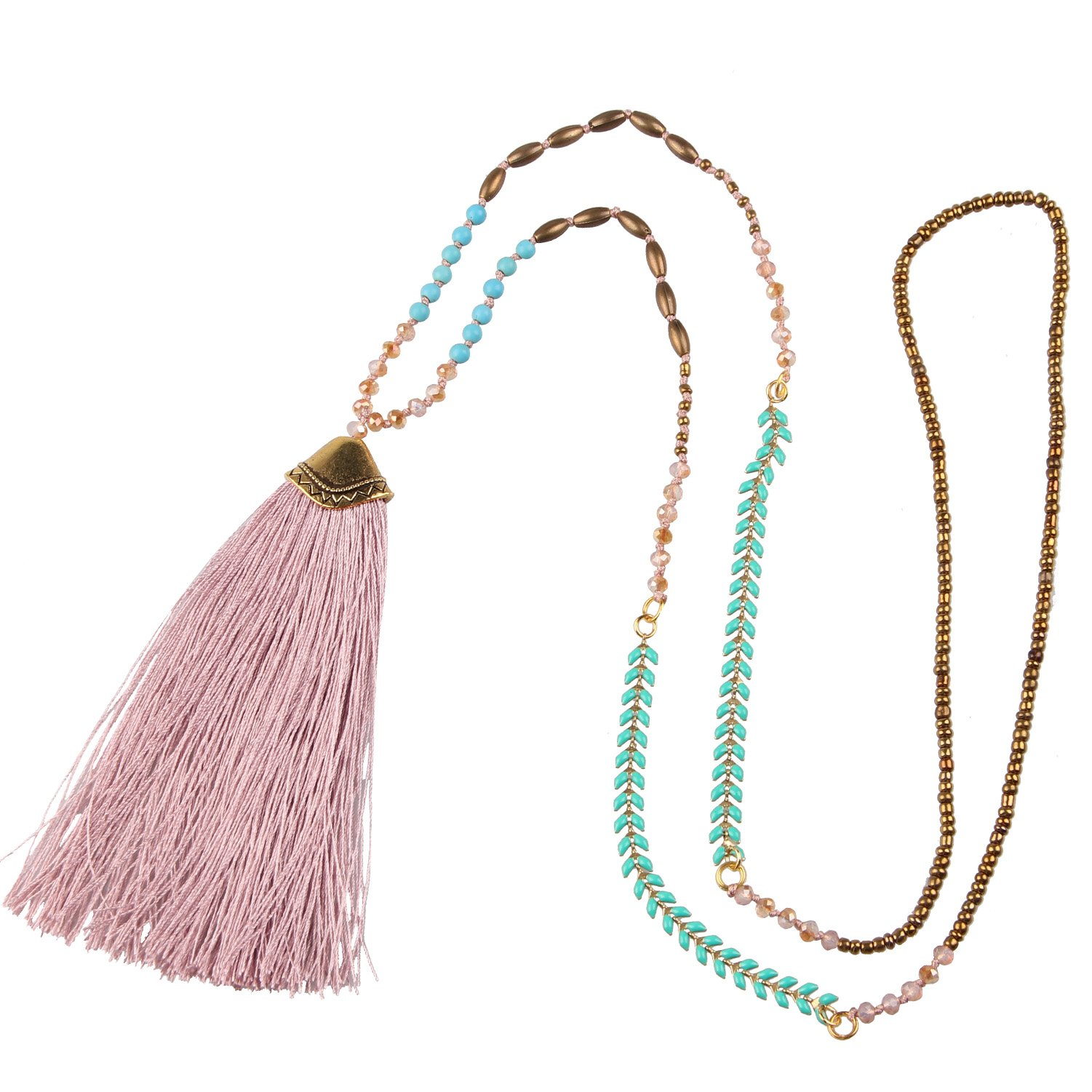 KELITCH Bohemian Tassel Necklace Hand Knotted Synthetic-Turquoise Beads Chain Necklace, Light Pink