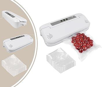 Leogreen - Máquina Selladora de Alimentos al Vacío, Máquina Selladora al Vacío, Blanco, con 50 bolsas, Potencia: 150 W, Tamaño de la bolsa selladora: ...